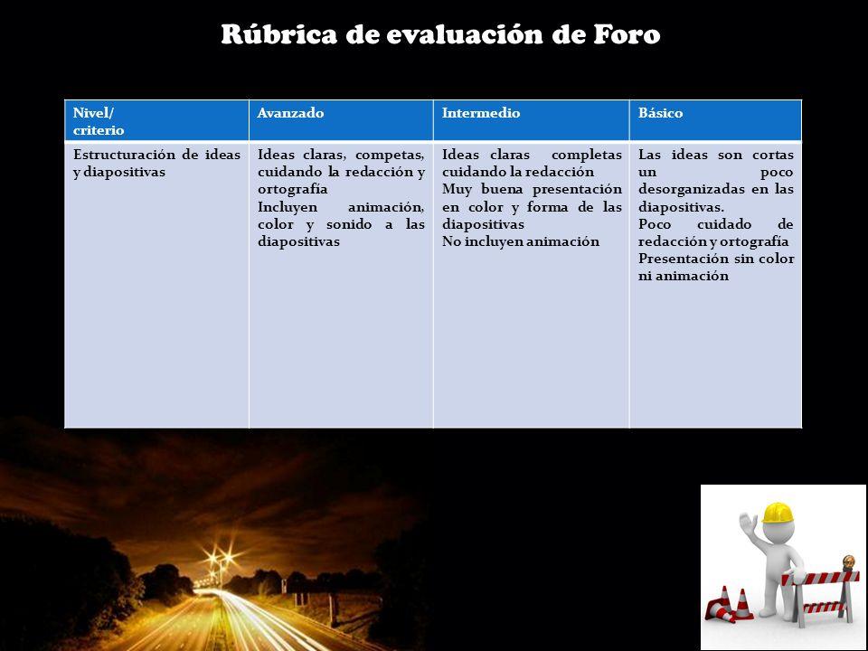 Page 13 Rúbrica de evaluación de Foro Nivel/ criterio AvanzadoIntermedioBásico Estructuración de ideas y diapositivas Ideas claras, competas, cuidando