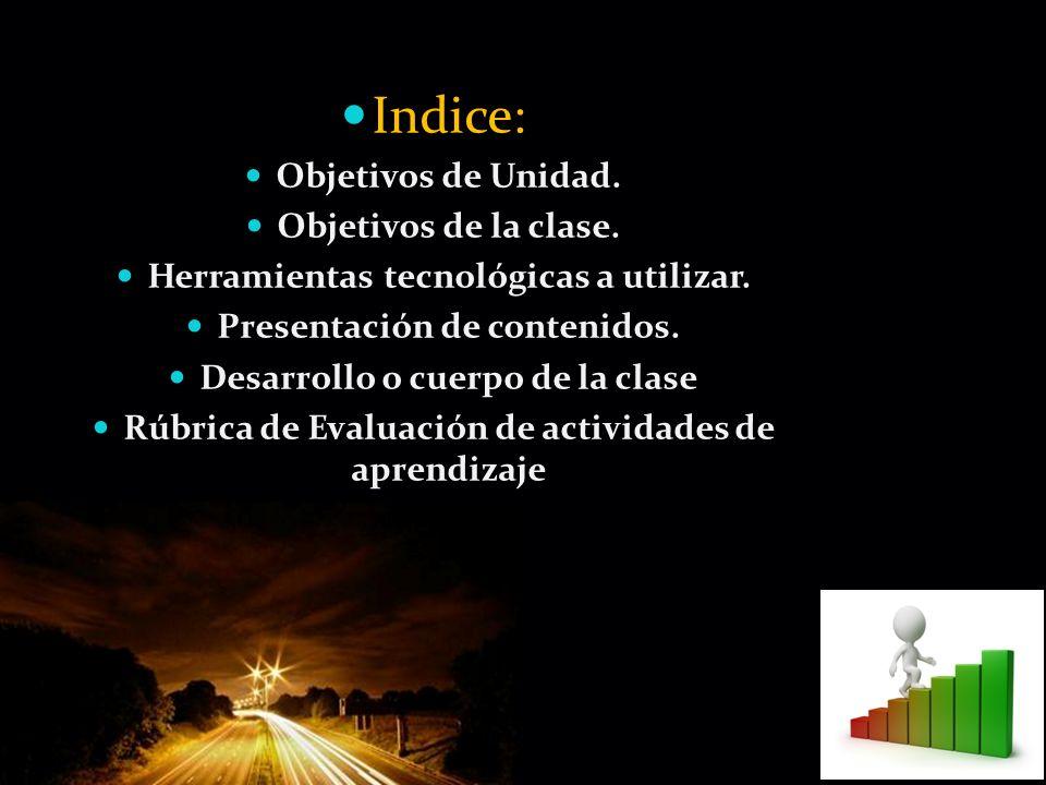 Page 3 Indice: Objetivos de Unidad. Objetivos de la clase. Herramientas tecnológicas a utilizar. Presentación de contenidos. Desarrollo o cuerpo de la