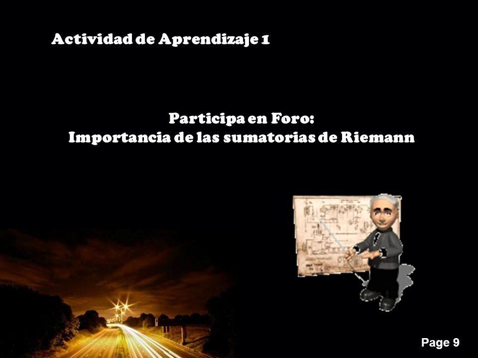 Page 9 Actividad de Aprendizaje 1 Participa en Foro: Importancia de las sumatorias de Riemann