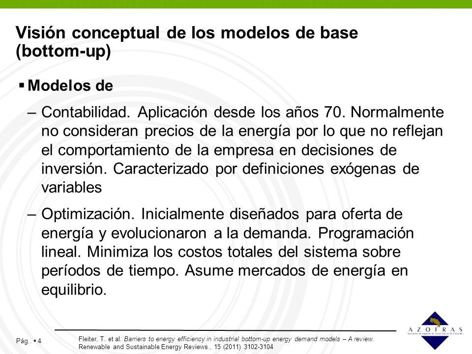 Pág.. 4 Visión conceptual de los modelos de base (bottom-up) Modelos de –Contabilidad. Aplicación desde los años 70. Normalmente no consideran precios