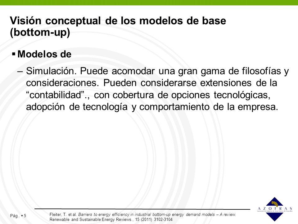 Pág.. 5 Visión conceptual de los modelos de base (bottom-up) Modelos de –Simulación. Puede acomodar una gran gama de filosofías y consideraciones. Pue