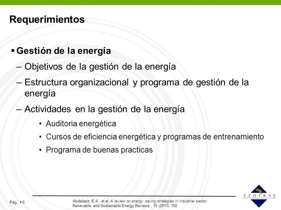 Pág.. 6 Requerimientos Gestión de la energía –Objetivos de la gestión de la energía –Estructura organizacional y programa de gestión de la energía –Ac