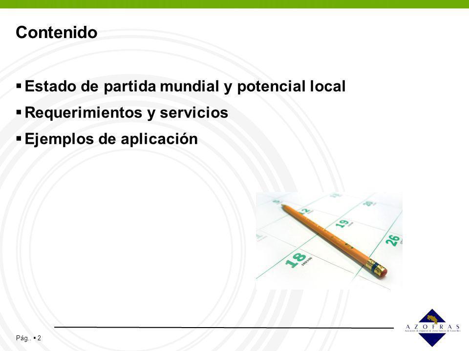 Pág.. 2 Contenido Estado de partida mundial y potencial local Requerimientos y servicios Ejemplos de aplicación