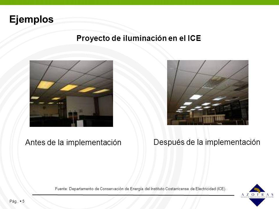 Pág.. 5 Ejemplos Fuente: Departamento de Conservación de Energía del Instituto Costarricense de Electricidad (ICE). Proyecto de iluminación en el ICE