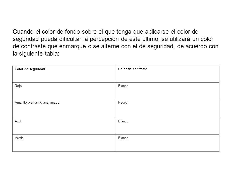 Cuando el color de fondo sobre el que tenga que aplicarse el color de seguridad pueda dificultar la percepción de este último. se utilizará un color d