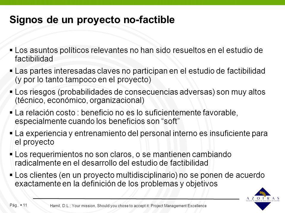 Pág.. 11 Signos de un proyecto no-factible Los asuntos políticos relevantes no han sido resueltos en el estudio de factibilidad Las partes interesadas