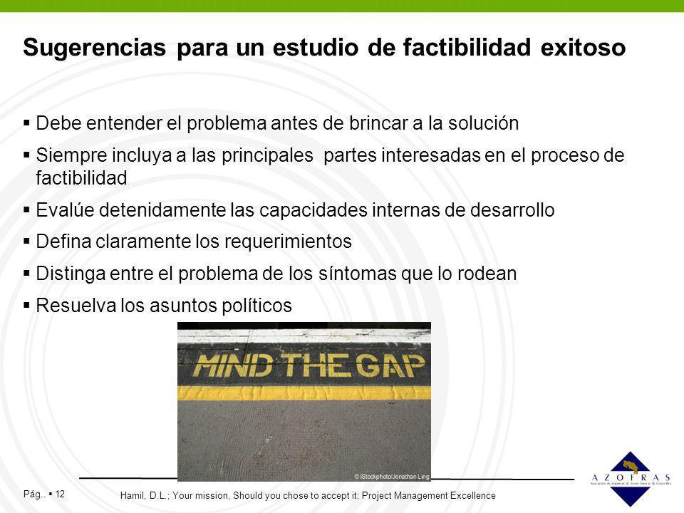 Pág.. 12 Sugerencias para un estudio de factibilidad exitoso Debe entender el problema antes de brincar a la solución Siempre incluya a las principale