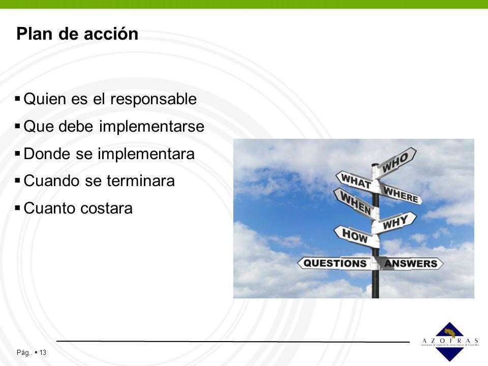 Pág.. 13 Plan de acción Quien es el responsable Que debe implementarse Donde se implementara Cuando se terminara Cuanto costara