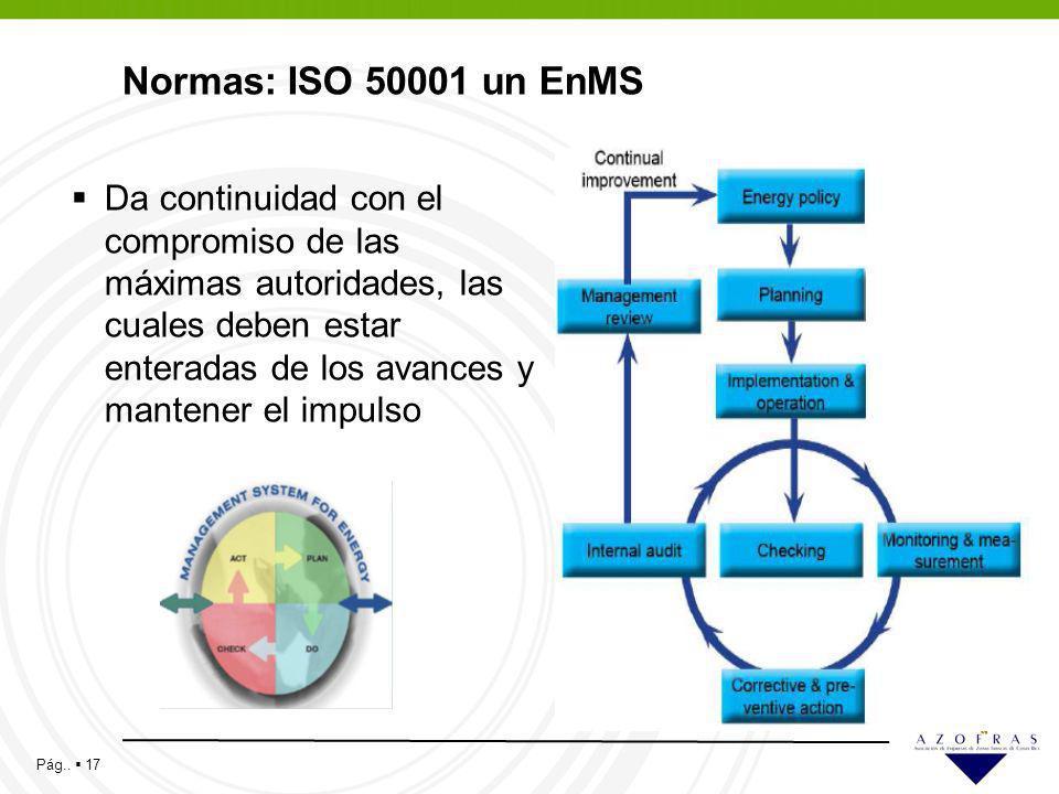 Pág.. 17 Normas: ISO 50001 un EnMS Da continuidad con el compromiso de las máximas autoridades, las cuales deben estar enteradas de los avances y mant