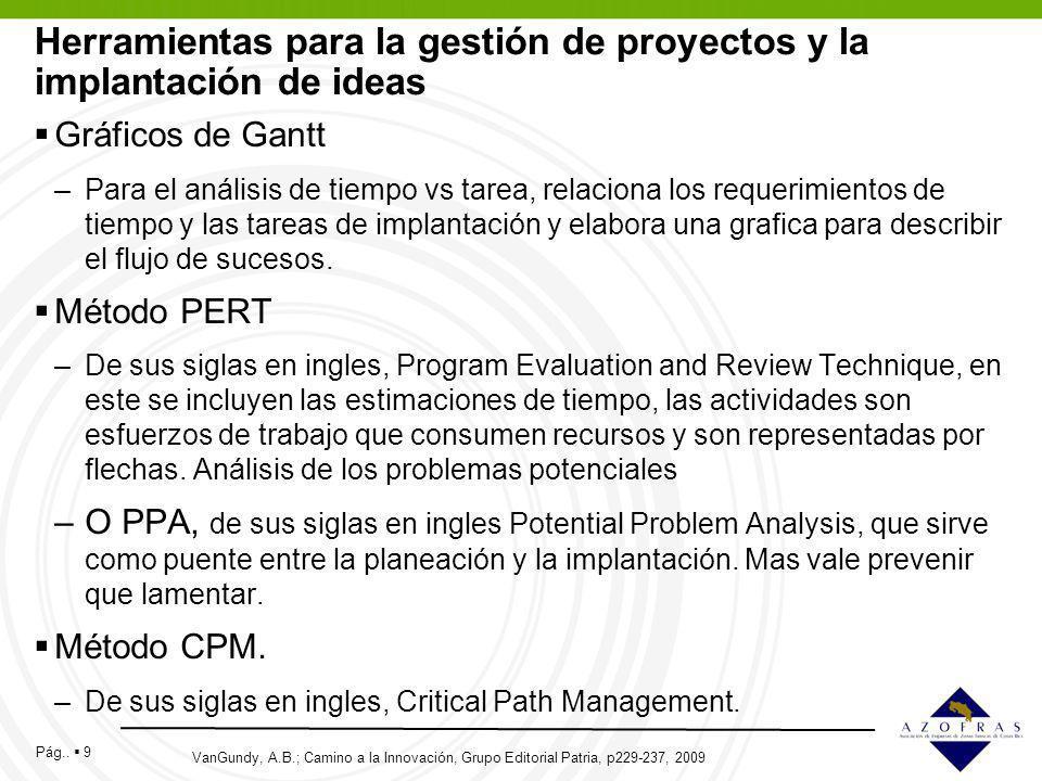 Pág.. 9 Herramientas para la gestión de proyectos y la implantación de ideas Gráficos de Gantt –Para el análisis de tiempo vs tarea, relaciona los req