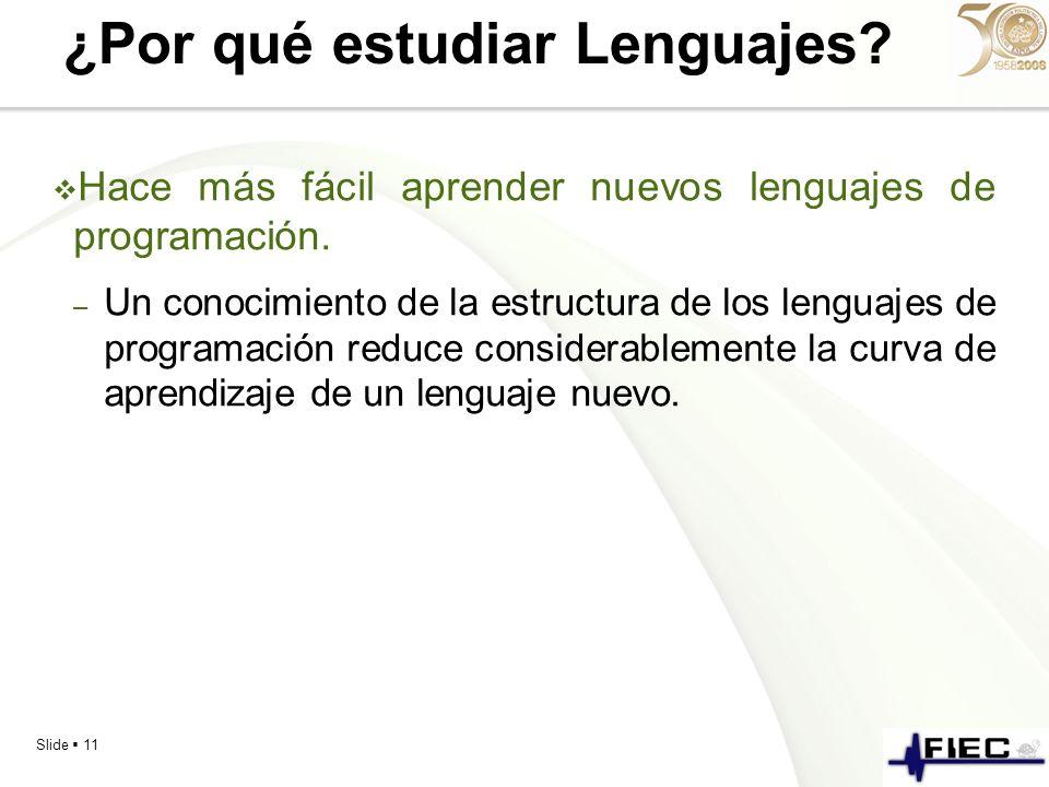 Slide 11 ¿Por qué estudiar Lenguajes? Hace más fácil aprender nuevos lenguajes de programación. – Un conocimiento de la estructura de los lenguajes de