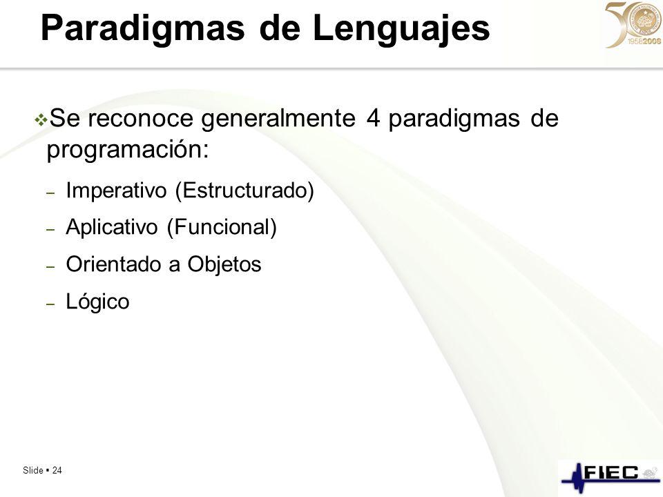 Slide 24 Paradigmas de Lenguajes Se reconoce generalmente 4 paradigmas de programación: – Imperativo (Estructurado) – Aplicativo (Funcional) – Orienta