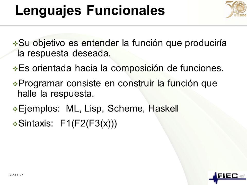 Slide 27 Lenguajes Funcionales Su objetivo es entender la función que produciría la respuesta deseada. Es orientada hacia la composición de funciones.