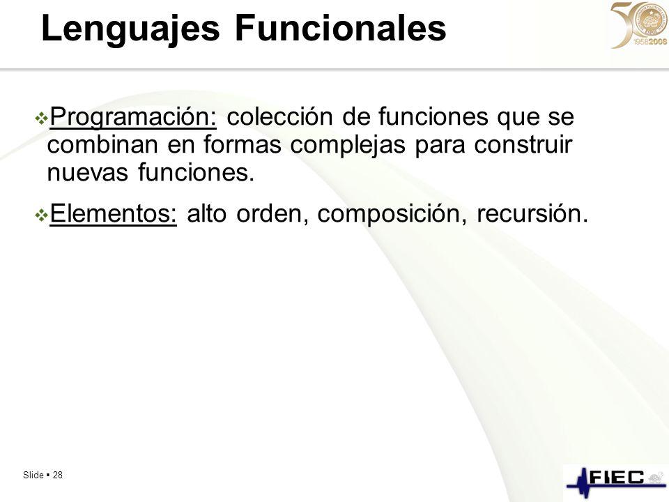 Slide 28 Lenguajes Funcionales Programación: colección de funciones que se combinan en formas complejas para construir nuevas funciones. Elementos: al