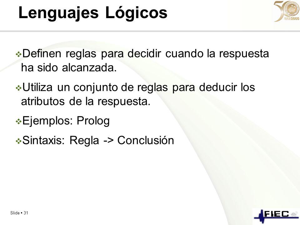 Slide 31 Lenguajes Lógicos Definen reglas para decidir cuando la respuesta ha sido alcanzada. Utiliza un conjunto de reglas para deducir los atributos