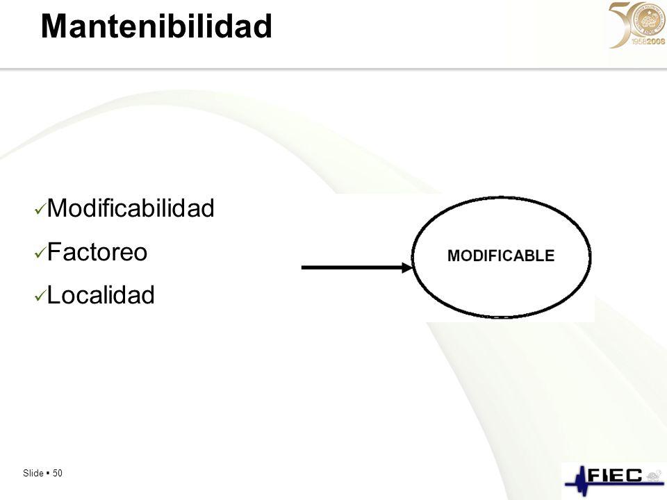Slide 50 Mantenibilidad Modificabilidad Factoreo Localidad