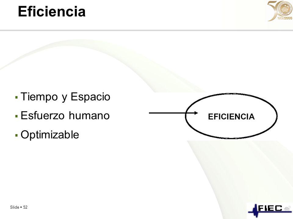 Slide 52 Eficiencia Tiempo y Espacio Esfuerzo humano Optimizable
