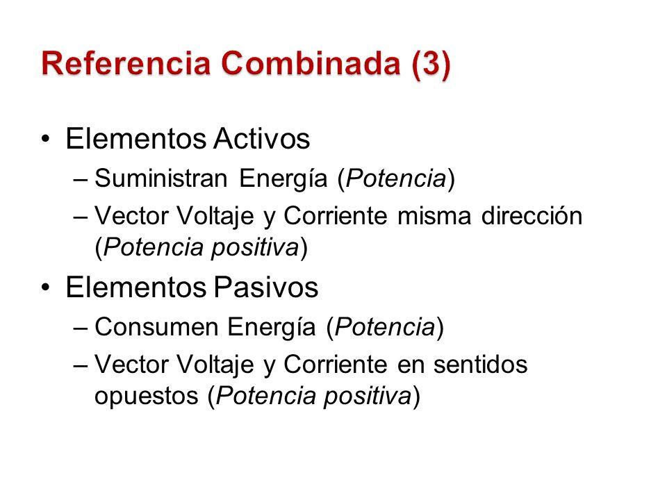 Elementos Activos –Suministran Energía (Potencia) –Vector Voltaje y Corriente misma dirección (Potencia positiva) Elementos Pasivos –Consumen Energía