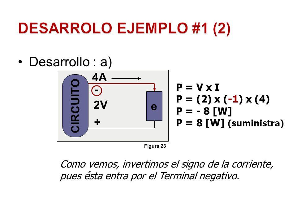 Desarrollo: b) - + 2V -2A Como vemos, la corriente va con el signo que trae consigo, pues ésta entra por el Terminal positivo y no afecta en nada.