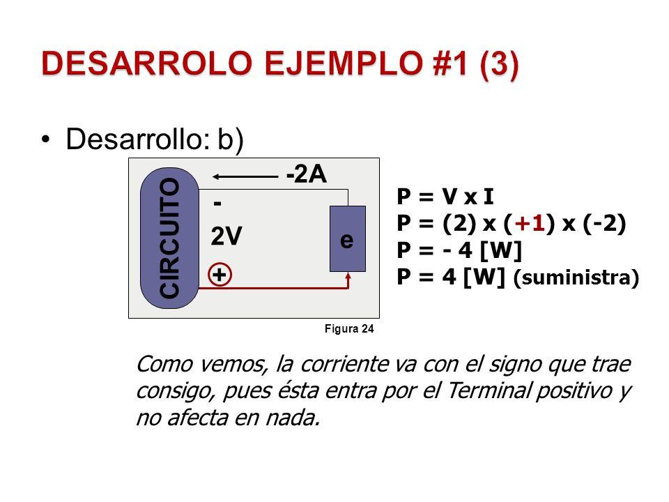 Desarrollo: b) - + 2V -2A Como vemos, la corriente va con el signo que trae consigo, pues ésta entra por el Terminal positivo y no afecta en nada. P =