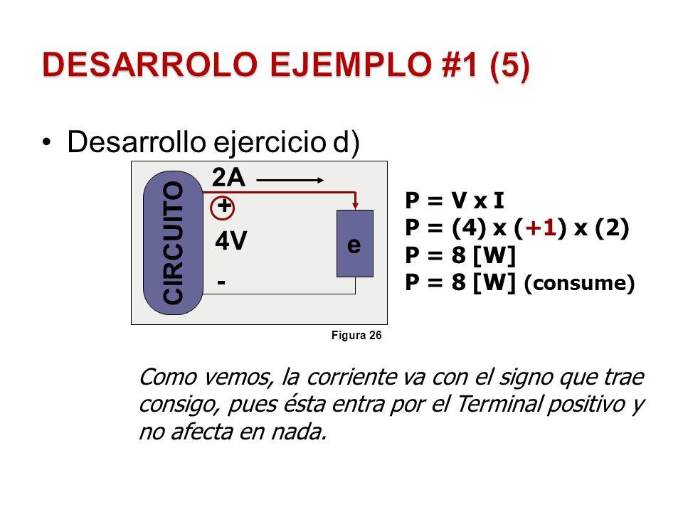 Desarrollo ejercicio d) + - 4V 2A e CIRCUITO P = V x I P = (4) x (+1) x (2) P = 8 [W] P = 8 [W] (consume) Como vemos, la corriente va con el signo que