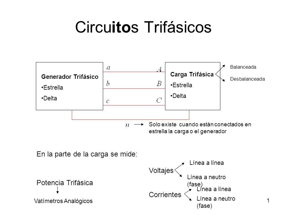 1 Circuitos Trifásicos Generador Trifásico Estrella Delta Carga Trifásica Estrella Delta Balanceada Desbalanceada Solo existe cuando están conectados