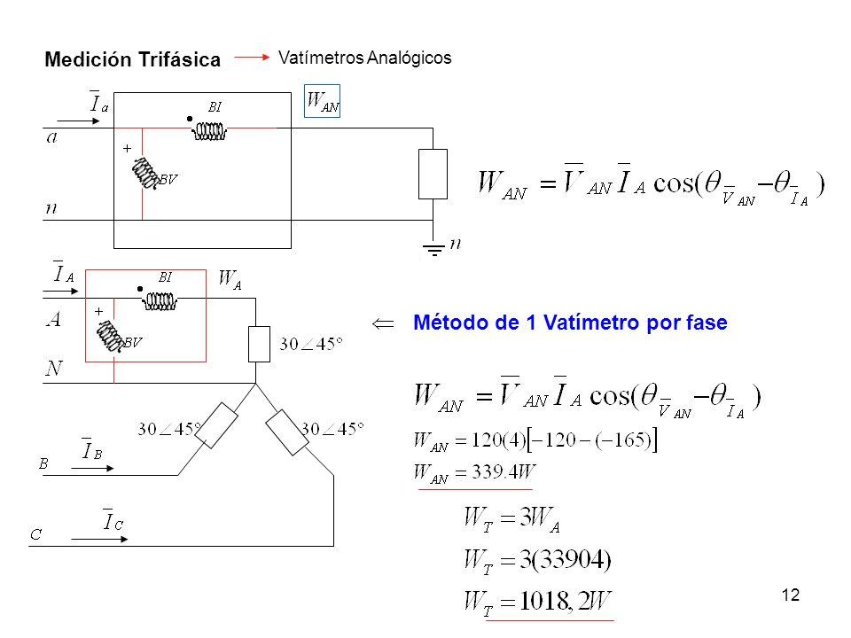 12 Medición Trifásica Vatímetros Analógicos Método de 1 Vatímetro por fase