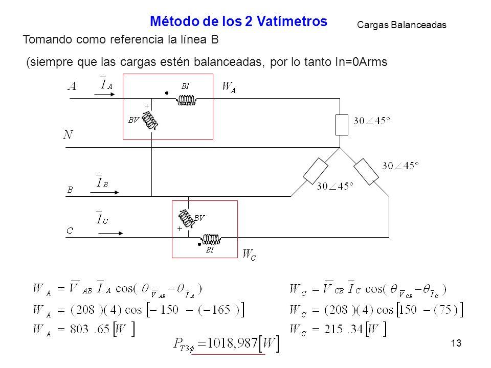 13 Método de los 2 Vatímetros Tomando como referencia la línea B (siempre que las cargas estén balanceadas, por lo tanto In=0Arms Cargas Balanceadas