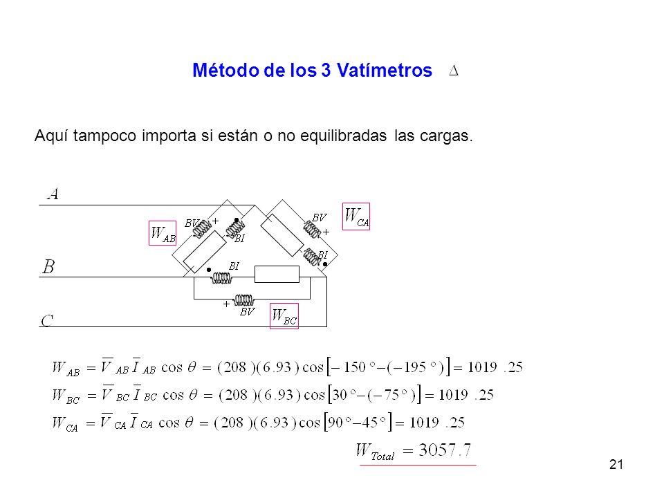 21 Método de los 3 Vatímetros Aquí tampoco importa si están o no equilibradas las cargas.
