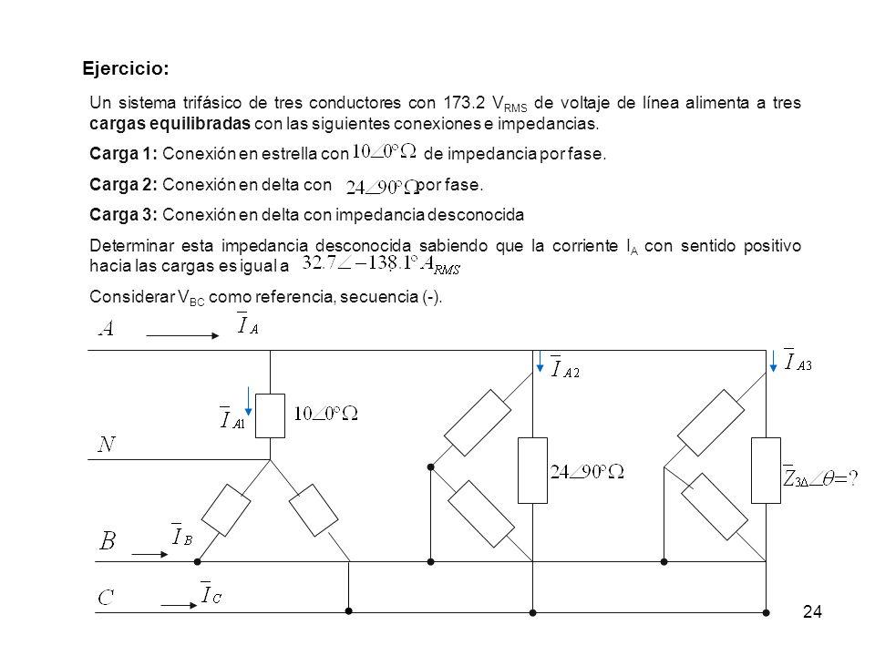 24 Ejercicio: Un sistema trifásico de tres conductores con 173.2 V RMS de voltaje de línea alimenta a tres cargas equilibradas con las siguientes cone