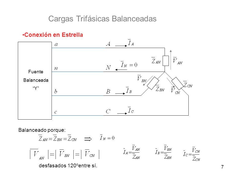 7 Cargas Trifásicas Balanceadas Conexión en Estrella Fuente Balanceada Y Balanceado porque: desfasados 120ºentre sí.
