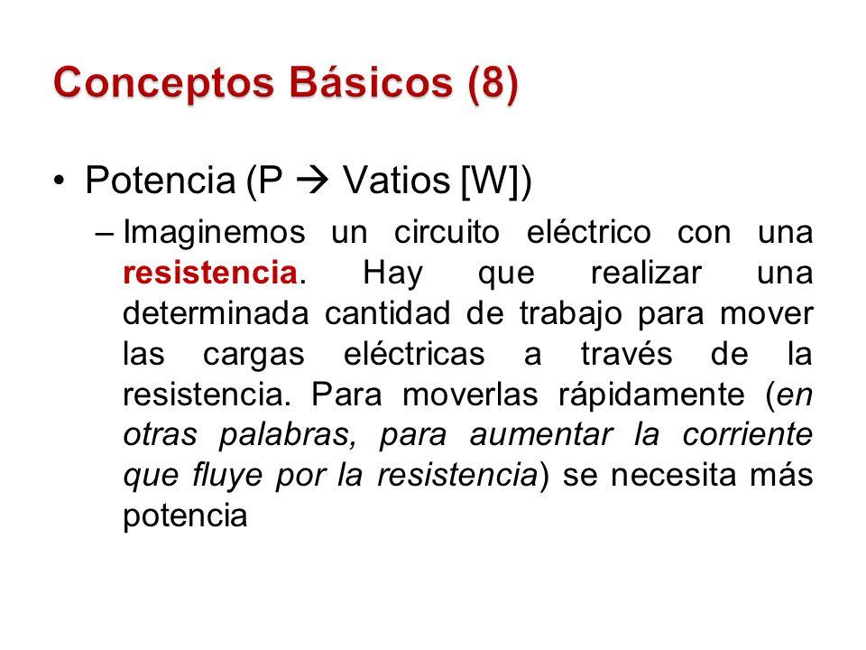 Potencia (P Vatios [W]) –Imaginemos un circuito eléctrico con una resistencia. Hay que realizar una determinada cantidad de trabajo para mover las car