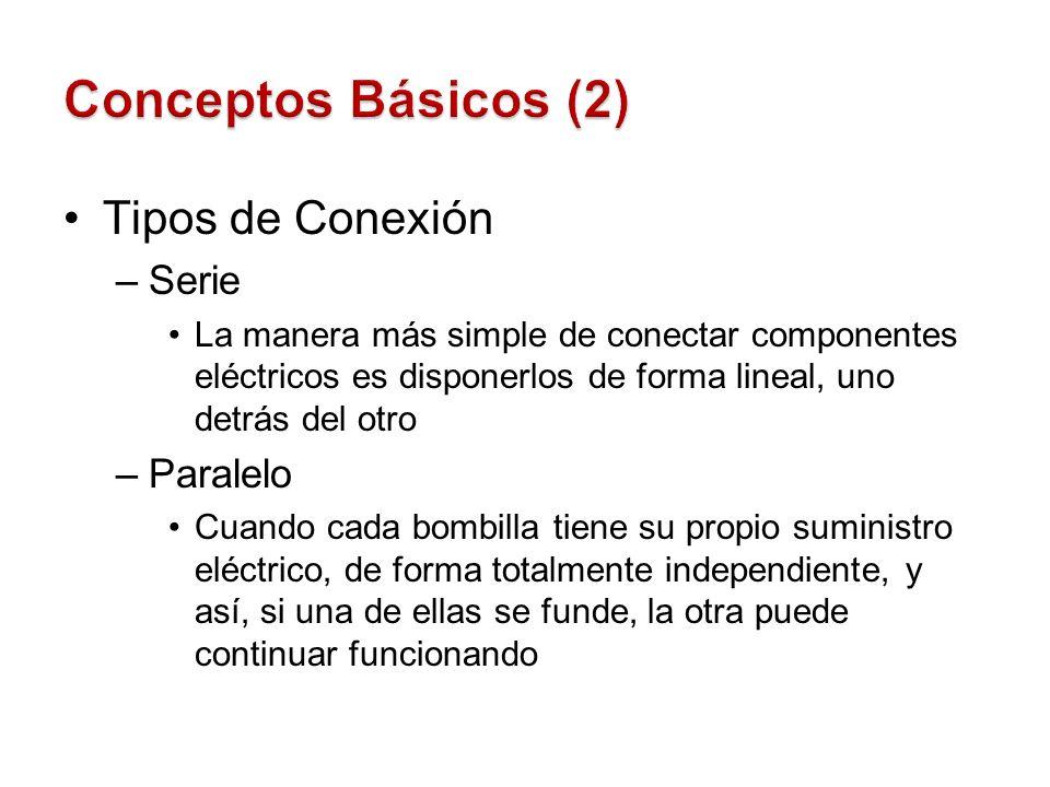 Tipos de Conexión –Serie La manera más simple de conectar componentes eléctricos es disponerlos de forma lineal, uno detrás del otro –Paralelo Cuando
