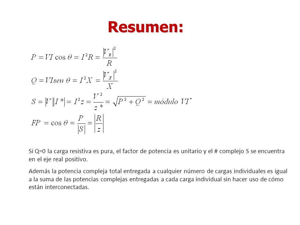 Resumen: Si Q=0 la carga resistiva es pura, el factor de potencia es unitario y el # complejo S se encuentra en el eje real positivo. Además la potenc