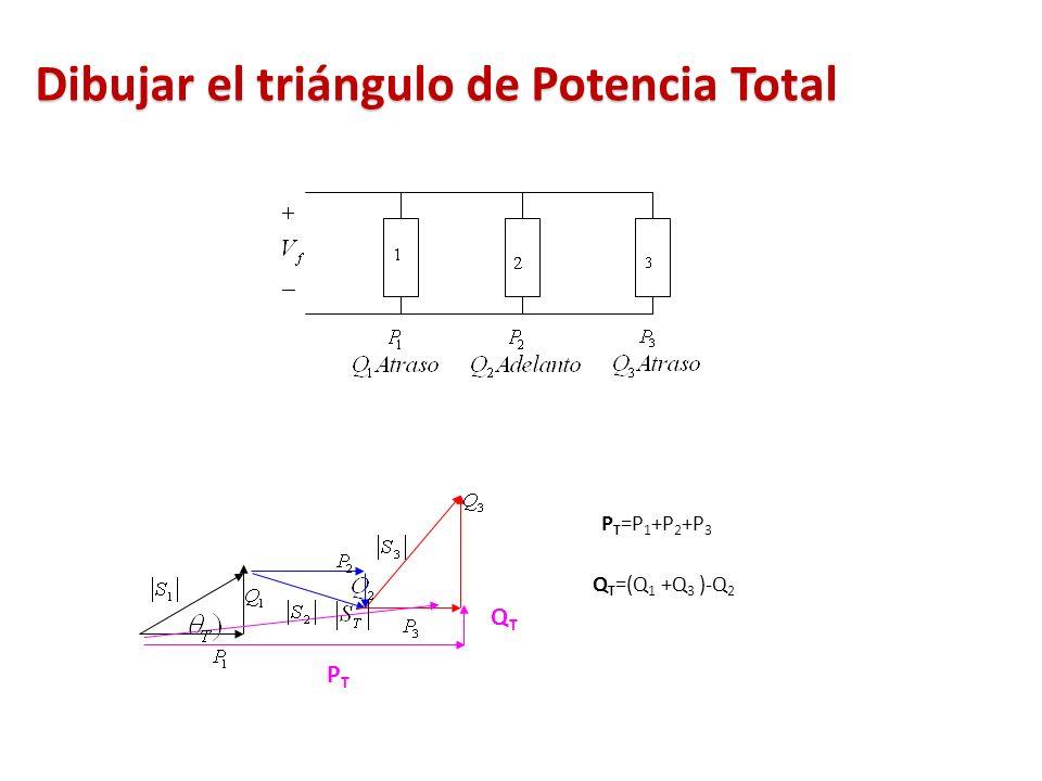 Dibujar el triángulo de Potencia Total QTQT PTPT P T =P 1 +P 2 +P 3 Q T =(Q 1 +Q 3 )-Q 2