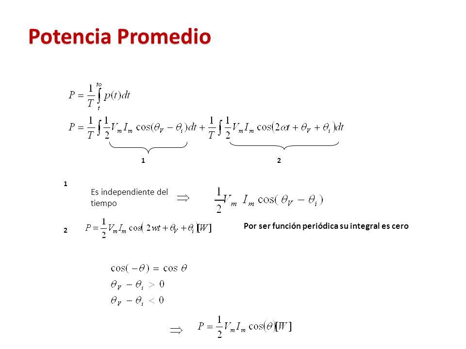 Potencia Promedio 12 1 Es independiente del tiempo 2 Por ser función periódica su integral es cero