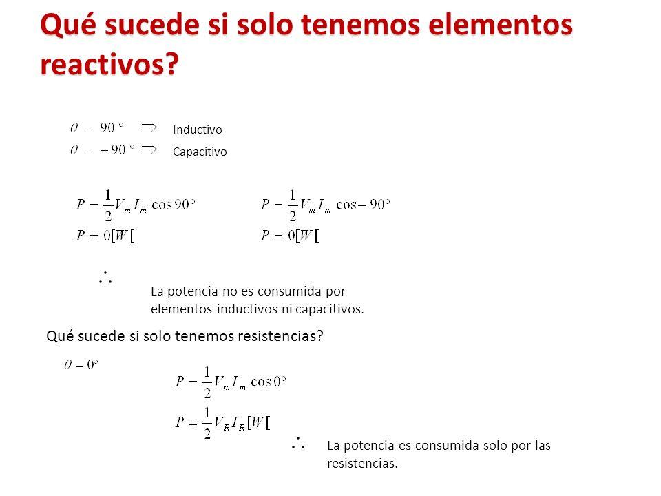 Qué sucede si solo tenemos elementos reactivos? Inductivo Capacitivo La potencia es consumida solo por las resistencias. Qué sucede si solo tenemos re