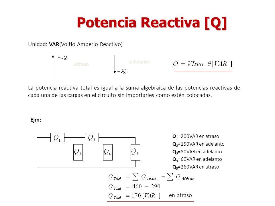 Potencia Reactiva [Q] Unidad: VAR(Voltio Amperio Reactivo) Atraso Adelanto La potencia reactiva total es igual a la suma algebraica de las potencias r