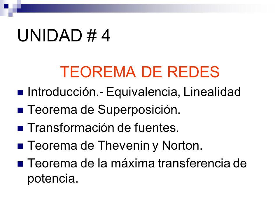 UNIDAD # 4 TEOREMA DE REDES Introducción.- Equivalencia, Linealidad Teorema de Superposición. Transformación de fuentes. Teorema de Thevenin y Norton.