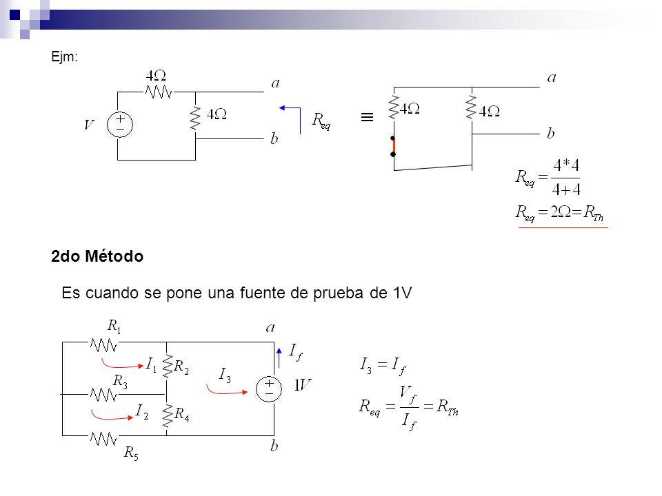 Ejm: 2do Método Es cuando se pone una fuente de prueba de 1V