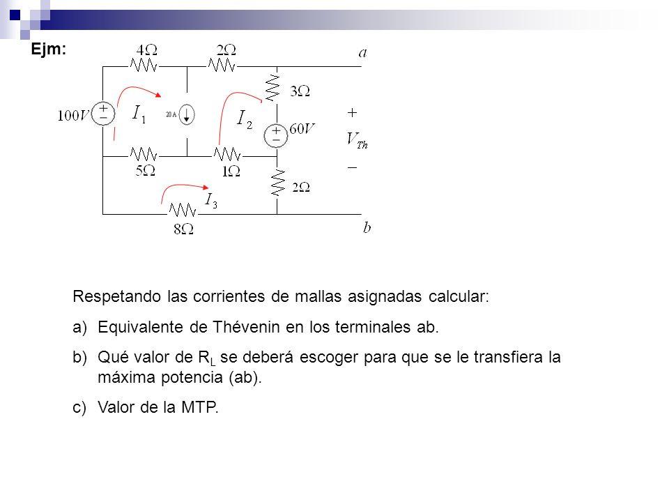 Ejm: Respetando las corrientes de mallas asignadas calcular: a)Equivalente de Thévenin en los terminales ab. b)Qué valor de R L se deberá escoger para
