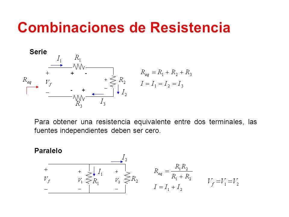 Serie + - - + Para obtener una resistencia equivalente entre dos terminales, las fuentes independientes deben ser cero.