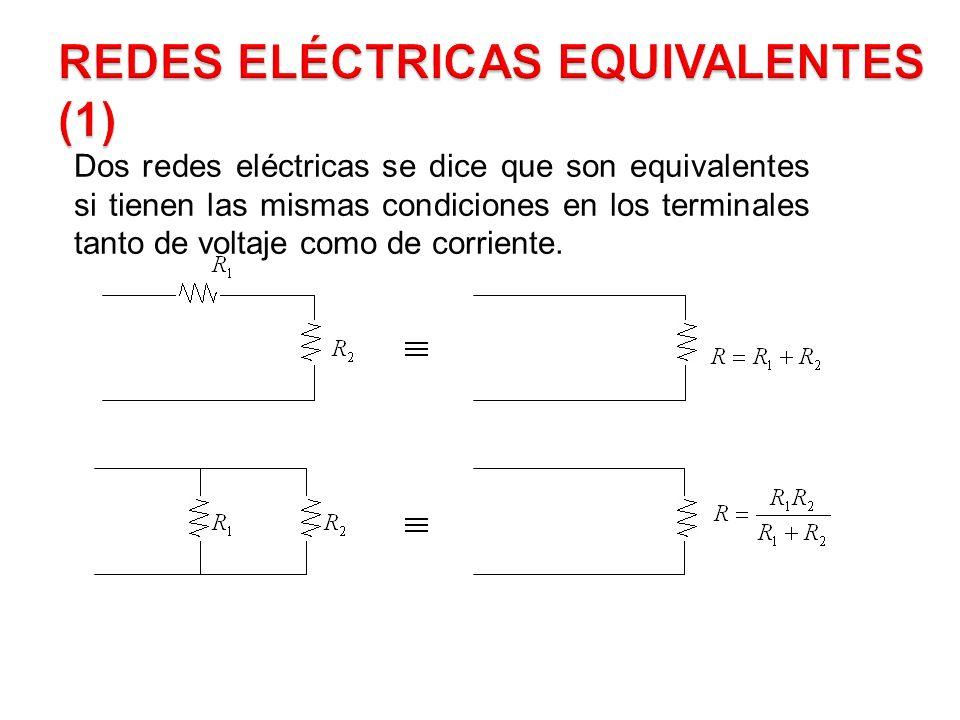 Dos redes eléctricas se dice que son equivalentes si tienen las mismas condiciones en los terminales tanto de voltaje como de corriente.
