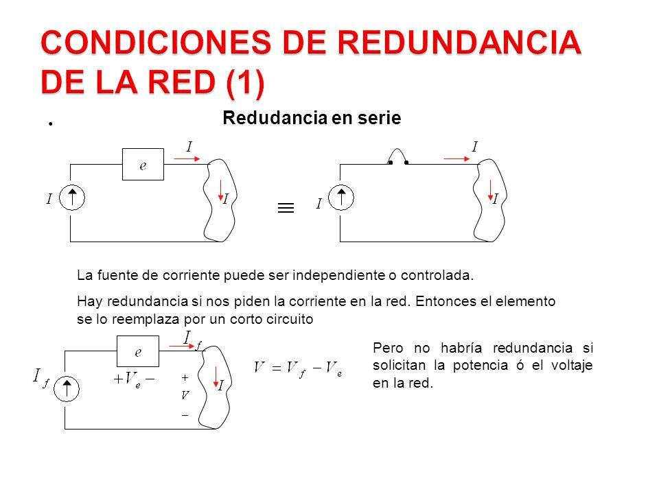 Redundancia en Serie La fuente de corriente puede ser independiente o controlada.