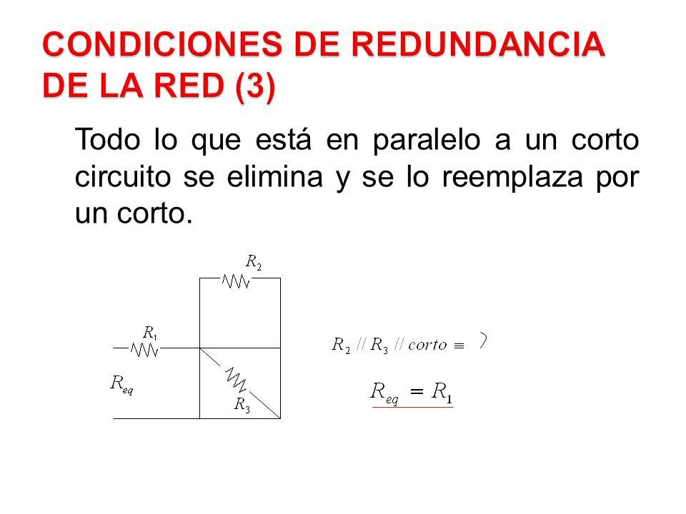 Todo lo que está en paralelo a un corto circuito se elimina y se lo reemplaza por un corto.