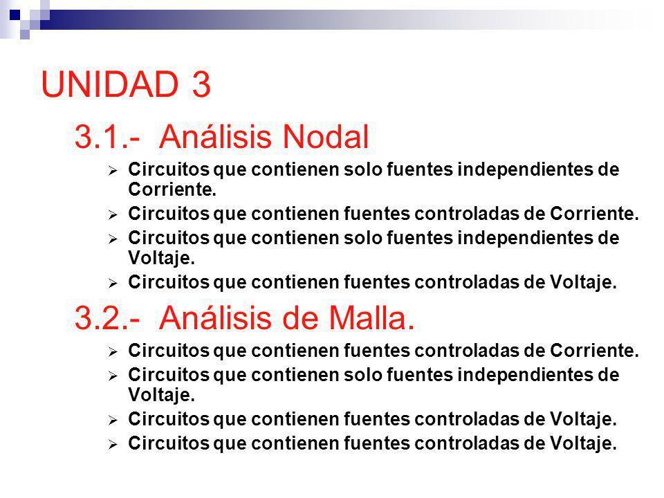 UNIDAD 3 3.1.- Análisis Nodal Circuitos que contienen solo fuentes independientes de Corriente. Circuitos que contienen fuentes controladas de Corrien
