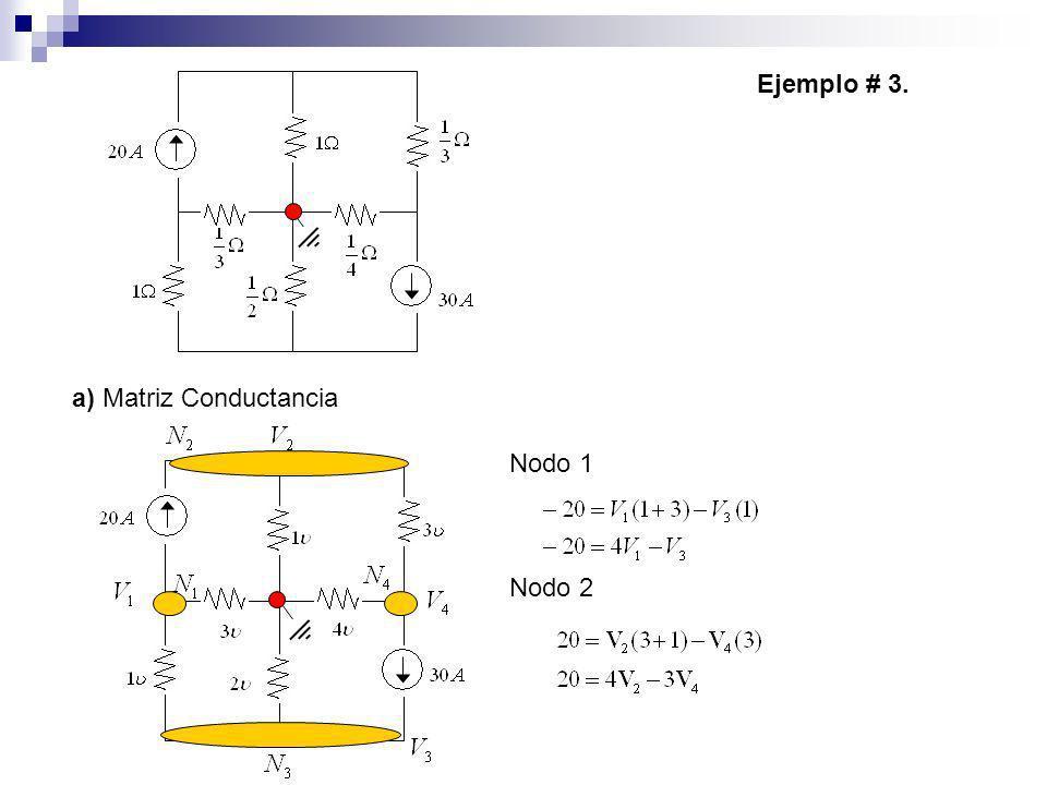 a) Matriz Conductancia Ejemplo # 3. Nodo 1 Nodo 2