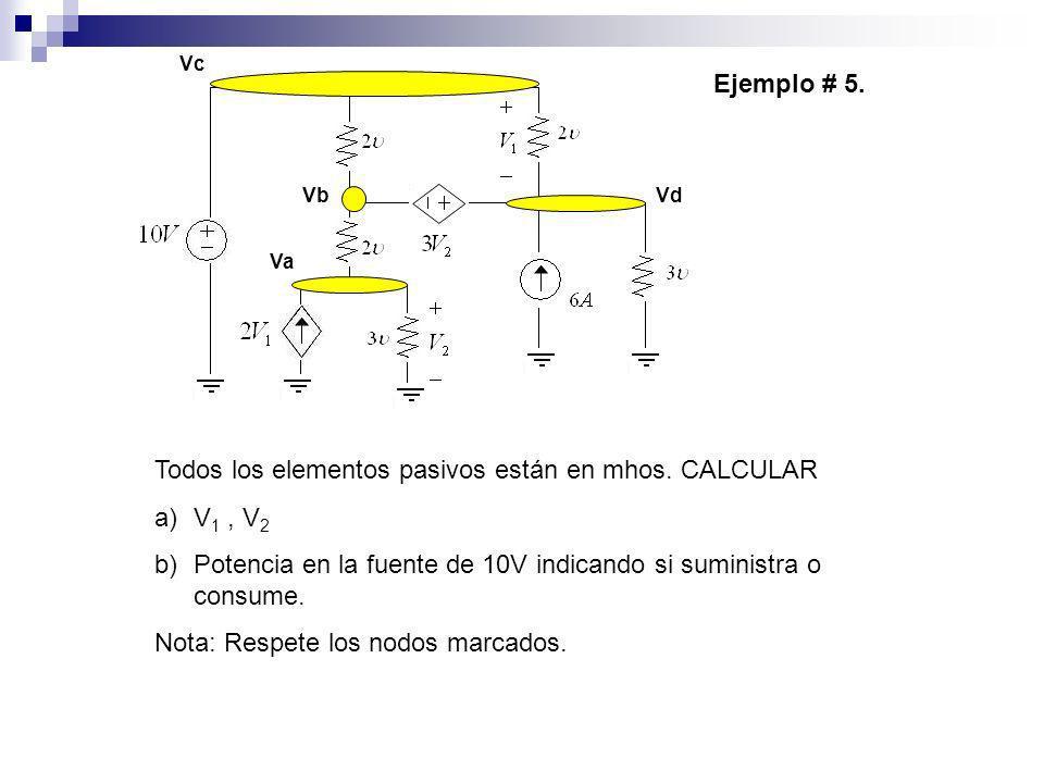 Ejemplo # 5. Todos los elementos pasivos están en mhos. CALCULAR a)V 1, V 2 b)Potencia en la fuente de 10V indicando si suministra o consume. Nota: Re