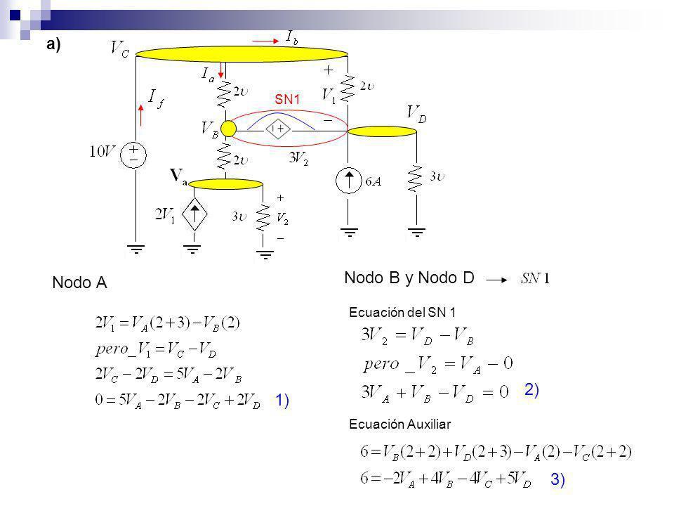 SN1 Nodo A 1) Nodo B y Nodo D 2) Ecuación del SN 1 Ecuación Auxiliar 3) a)