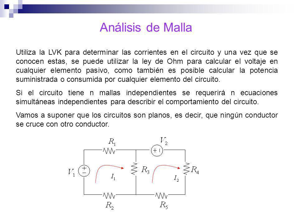 Análisis de Malla Utiliza la LVK para determinar las corrientes en el circuito y una vez que se conocen estas, se puede utilizar la ley de Ohm para ca